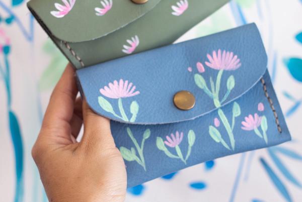 Mini purse - blue blossoms