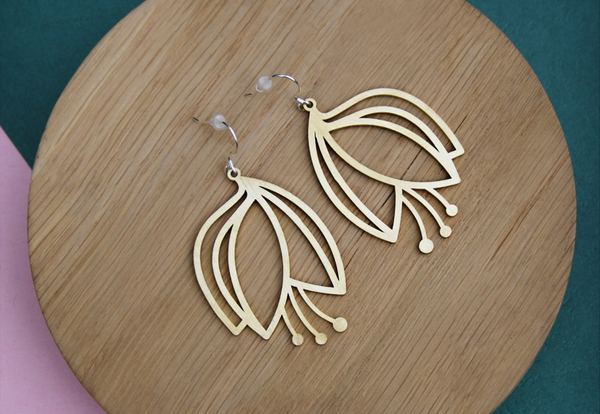 Brass or Stainless Steel tulips with Sterling Silver hooks.