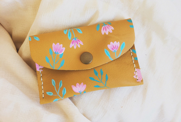Hand painted Mini Purse - teal and blush