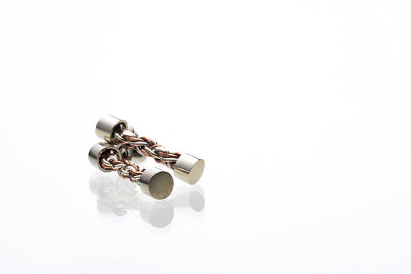 Woven sterling silver and copper earrings