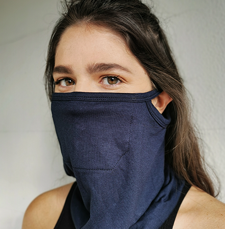A single layer of viscose lycra with an extra panel in front of the mouth. This buff loops over the ears to stop it from slipping down while you wear it. This is the most comfortable exercise mask of all.