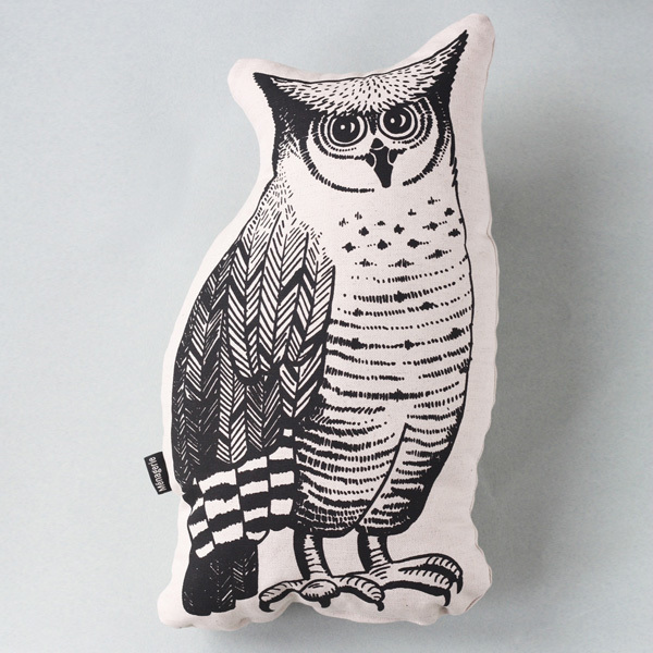 Owl is part of a menagerie of animal cushions for your home.  Owl is an original illustration, screen printed in dark grey water-based ink on a thick seeded 100% cotton fabric. Owlis backed in cotton twill in a soft stone colour witha woven label on the side. He is plushly stuffed with unicurl for great recovery and maximum cuddles,so will make the perfect accessory for a nursery, or any room that needs a touch of woodlands whimsy!  Dimensions* :  h – 35cm; w – 28; d – 12cm * May vary slightly as item is handmade