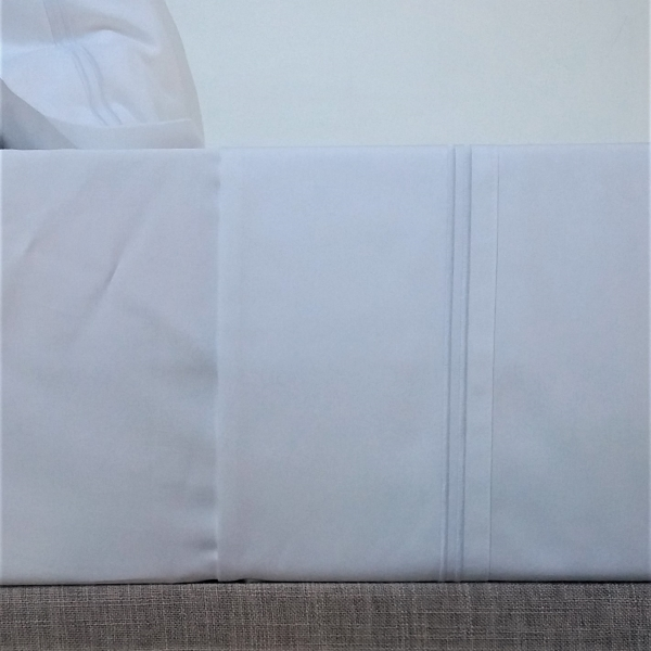 Signature Collection - Double Satin Stitch Flat Sheet - White