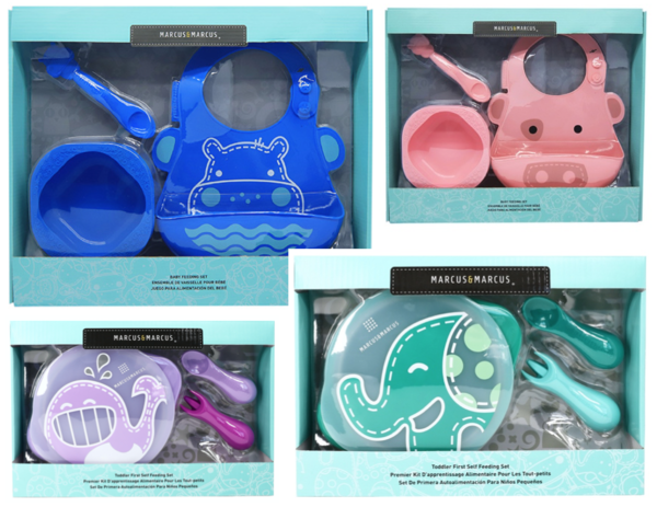 SILICONE BABY FEEDING SET   Marcus & Marcus Baby Feeding Set is the perfect set to get your baby started on solids. The baby feeding set includes one silicone bowl, one soft-tip feeding spoon that is gentle on baby's gums and one silicone baby bib. Products are molded from BPA and Phthalate free materials.  Available in Marcus the Lion,Ollie the Elephant, Pokey thePig, Willo the Whaleand Lucas the Hippo .  TODDLER SELF FEEDING SET   Marcus & Marcus Toddler First Self Feeding Set includes a suction bowl with lid and a Palm Grasp Spoon & Fork.  The fork and spoon are designed with little hands in mind. We shortened our regular spoon and fork handles so the utensils will fit more easily into a toddler's palm grip. The Suction Bowl's base will grip securely to the table so baby's bowl stays in place. The easy release tab makes it easy for parents to remove the bowl. This makes self-feeding easier and much more enjoyable for junior before they transition to our regular Kid's Fork and Spoon Set. our products are BPA and Phthalate free, and are top-rack dishwasher safe for easy cleaning. Choose from Ollie the Elephant, Willo the Whale and Lucas the Hippo.  FEATURES OF BABY FEEDING SET:  Feeding Spoon BPA/Phthalate free Soft silicone spoon tip for tender gums Easy grip handle Resting tab keeps the spoon off the table  Baby Bib BPA/Phthalate free Extra large crumb catcher Soft silicone is gentle on baby's skin Two adjustable button latches  Feeding Bowl BPA/Phthalate free Kid-friendly wide-base Easy grip handles  FEATURES OF TODDLER SELF FEEDING SET  Silicone Palm Grasp Spoon & Fork Set: BPA/Phthalate free Soft tip for tender gums Palm grasp for self feeding Perfect length for little hands Lightweight  Self Feeding Suction Bowl With Lid : BPA/Phthalate free Kid-friendly wide-base Two easy-grip handles Strong suction base and easy- release tab  CLEANING AND CARE  Baby Feeding Set:Top-rack dishwasher safe,UV &Steam sterilizer safe. Stains can be removed by washing with hot-soa