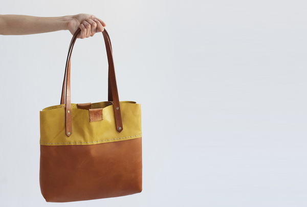 Soft Tote bag - tan and marigold