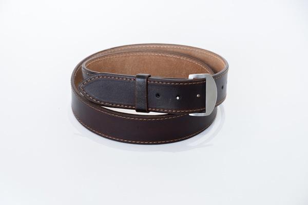 Dark Brown Knife Buckle Belt - stitched