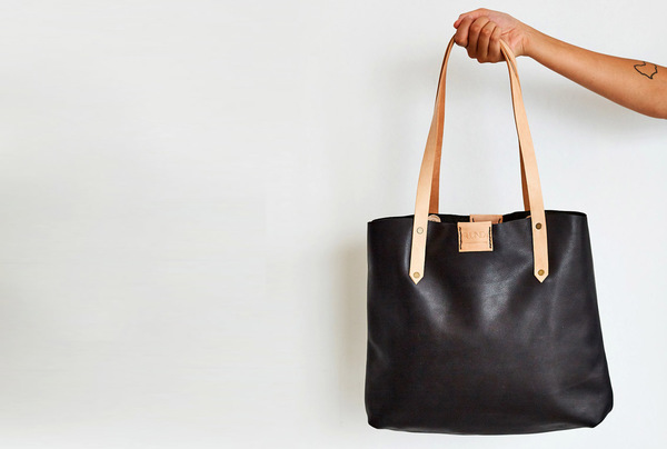 Soft Tote Bag - Onyx and Oyster