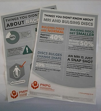 """Get the """"Things you didn't know about Back Pain"""" and """"Things you didn't know about MRI & Bulging Discs"""" on A5 flyers (printed back to back) to hand out to your patients.  Available in packs of 50.  Created by the Pain Management Physiotherapy Group."""
