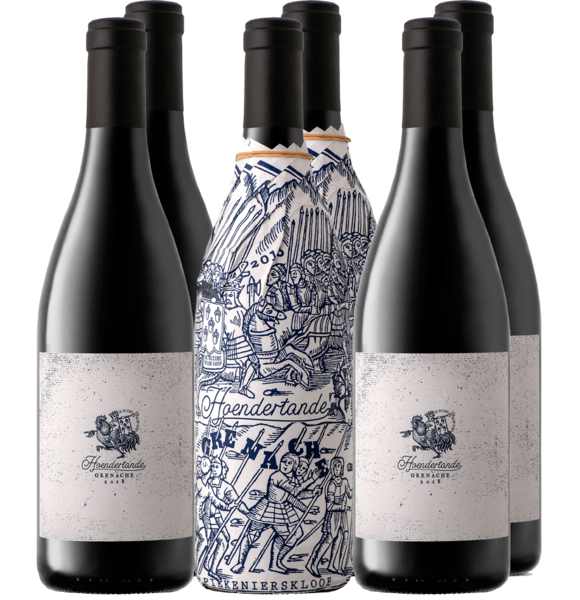 """Hoendertande Grenache comes from the extremely sought-after Piekenierskloof appellation and like the """"Ou Treffer Cinsault"""", only 1 barrel was produced. Also referred to as the """"abalone"""" of the valley, sought-after, treasured… as scarce as hens' teeth.  VINTAGE NOTES  These Piekenierskloof grapes were planted in the early 2000's. The famous tractor driver, also known as """"Panda"""" (you'll find him featuring on the wrapping paper) collected these grapes and transported them to the cellar.  WINEMAKING  Whole-bunch fermentation in open-top fermenters with 2 punch downs daily for 10 days. After being basket pressed, the wine was barrel aged in an older 500l French Oak barrel for 12 months.  TASTING NOTE  Red cherry and strawberry notes plus a subtle earthy note on the nose. Light-bodied with lovely pure fruit, fresh acidity and very fine tannins. A slightly spicy quality to the finish thanks to whole-bunch fermentation."""