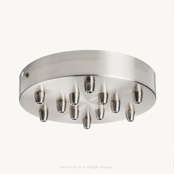 200 mm Stainless Steel Ceiling Cup with Stainless Steel Cable Grips and Stainless Steel Thumbscrews.  Please select multiple holes ceiling cup options.