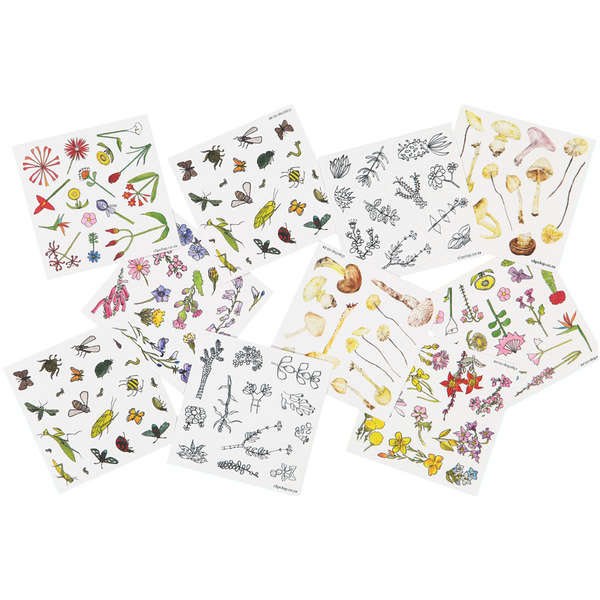 Vinyl stickers for the child in us all. Each pack has 2 sheets of individually cut stickers. All the flowers, animals, birds, insects and other life are naturally South African. Choose your pack from the drop-down menu (look for the codes at the top of the pics).  Stick them onto writing paper, lunch boxes, gifts, book covers, windows (?), children's rooms - have fun loving the loving world around us.