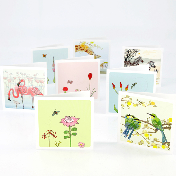 2 cards per pack, blank inside  Size: 100x100mm when folded  This year we had space on our Family Calendar paper and we added these cute cards. Look on the drop down menu to choose.