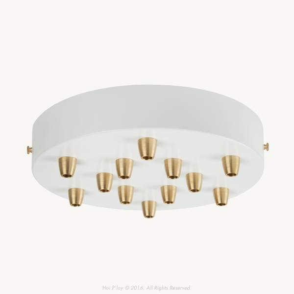 Extra Large White Ceiling Cup with Brass