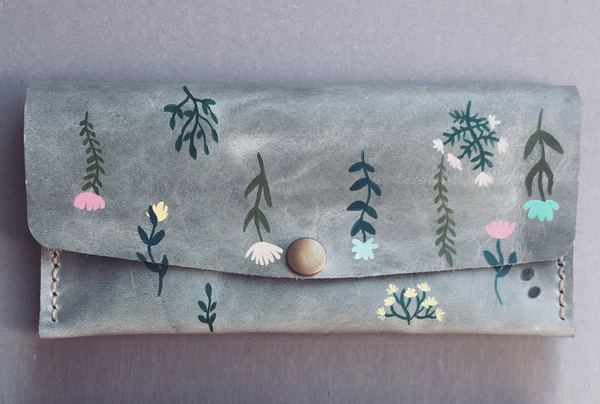 Hand painted Long Wallet - spring