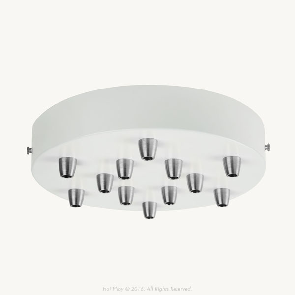 Extra Large White Ceiling Cup with Stainless Steel