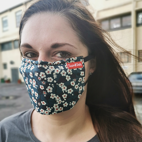 This is the #dailymask. Easy to breathe, easy to wear For every 10 of thesemasks sold, two are donated Select the button to buy extra masks over and above Sam & Seb's donation Follows WHO recommendations 2 plies of 100% cotton, breathable materia, with a pocket for a non-woven filter (Spun bond provided, can be replaced with tissue or kitchen towel) Soft pull elastic for comfortable wear Thin wire across the bridge of the nose improves the fit Sanitised by washing with soap and water. Multiple masks recommended to encourage frequent washing