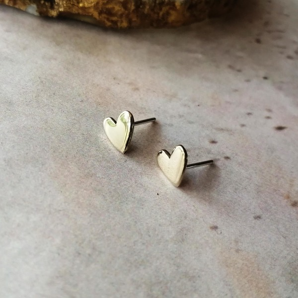 HEART Stud Earrings are available in brass, copper and silver. They have a sterling silver earring post!