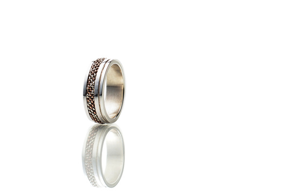 Woven sterling silver and copperring