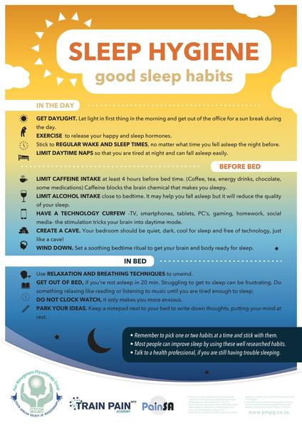 """Sleep Hygiene"" poster available in A3 and A2 sizes (laminated)