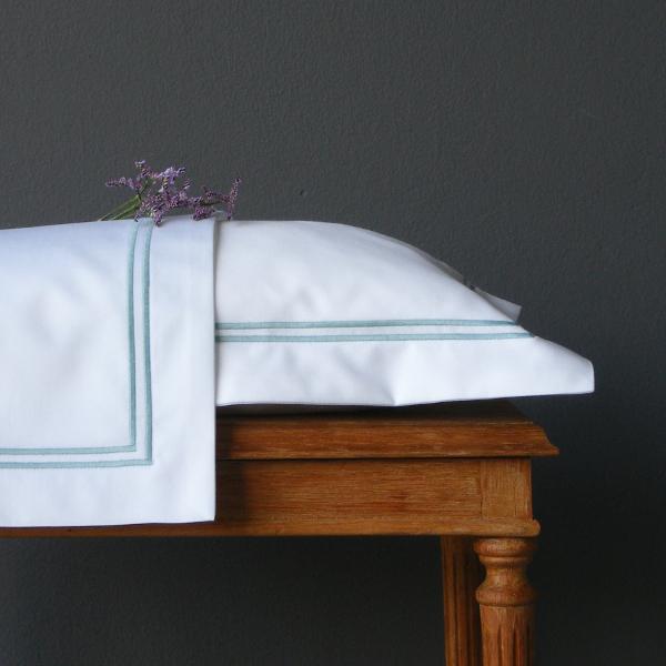 Signature Collection - Oxford Double Satin Stitch Pillowcases (2) - Aqua on White