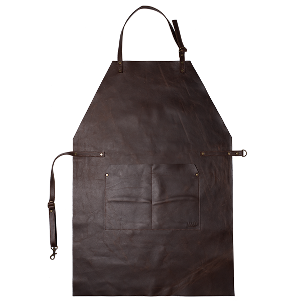 FULL LEATHER APRON  Full leather apron with easily adjustable neck and waist strap. Two storage pockets as well as two loops to attach your favourite cooking utensil and towel.