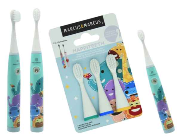 Teach your littles ones early on that oral hygiene is important and fun! Marcus and Marcus' Kids Sonic Electric Toothbrush is your little one's first sonic toothbrush. The extra soft nylon bristles are cut in a convex shape for the best care and comfort of little teeth. The toothbrush will vibrate in 30 second intervals to indicate that it's time to brush another part of your mouth. The vibrations are strong enough for a deep clean, yet still gentle enough for sensitive little mouths. The small rounded handle is designed to fit conformtably in little hands.  Our Sonic Toothbrush is water-resistant and the brush heads are replaceable. Toothbrush requires one AAA battery.  Replacement Heads (Pack of 3) sold separately below.  Replacement Toothbrush Heads are compatible with our Premium and Regular Kids Sonic Electric Toothbrushes. The extra soft nylon bristles are cut in a convex shape for the best care and comfort of little teeth.  Dentists recommend to replace brush every 3 months or sooner if toothbrush head looks worn  FEATURES  2 minutes timer  Every 30 seconds interval vibration  Ergonomic handle design  Extra soft brushes  Water resistant IPX6  Effective convex shape with soft bristls  Replacement toothbrush head  CLEANING AND CARE  Do not bleach, microwave or steam sterilise  Dentists recommend to replace brush every 3 months or sooner if toothbrush head looks worn  AAA alkaline battery operated, frequency 7000 oscillations/ min