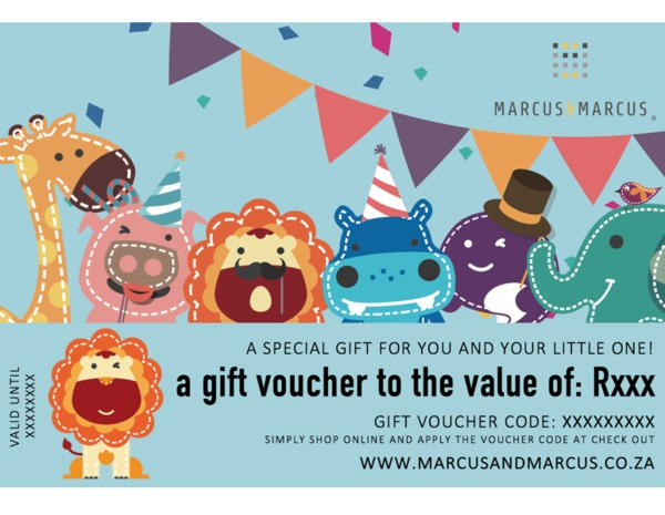 Looking for the perfect gift?  Our Marcus & Marcus online gift vouchers are the perfect spoil!  Simplyadd the gift voucher to your cart and check out. Once payment has been received, yourgiftvoucher with a unique code willbe emailed and activated within 24 hours.  You can then print or email the voucher to the lucky recipient and they will be able to shop online and redeem their gift voucher at check out!  **PLEASE SELECT 'COLLECTION' AS YOUR SHIPPINGOPTION SO YOU ARE NOT CHARGED COURIER FEES**