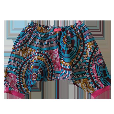 Wax print harem pants. pink
