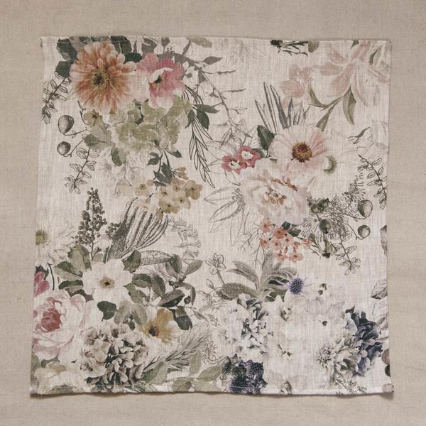 Set of 2 Floral Linen Serviettes