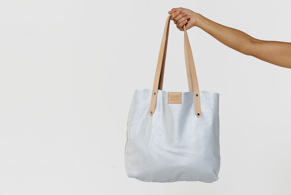 Soft Tote bag - Silver and oyster
