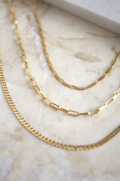 A set of everyday lightweight chains. Great for layering, each chain is separate and can be interchanged with other necklaces.  Material:  Set: Detailed Chain +Classic Chain + Boyfriend Chain  - Made in sterling silver andgold vermeil. Vermeil isan 18k gold platedlayer on sterling silver.  - Chain length: 50, 55, 60cm  - Link Width: 1mm x 5mm.  Each piece is made to order, the production time after your order takes around 3 days before shipping. Shipping takes 5 days with international and 3 days local couriers