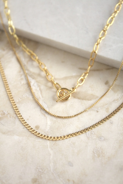 Everyday lightweight set of 3 chains. Great for layering with other chain and necklaces.