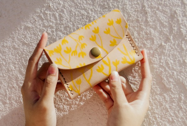 Hand painted Mini Purses - yellow blooms