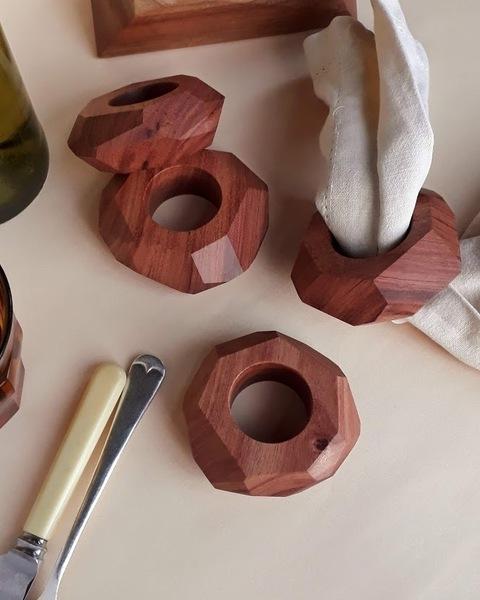 Facet African Rosewood Wood Napkin Rings