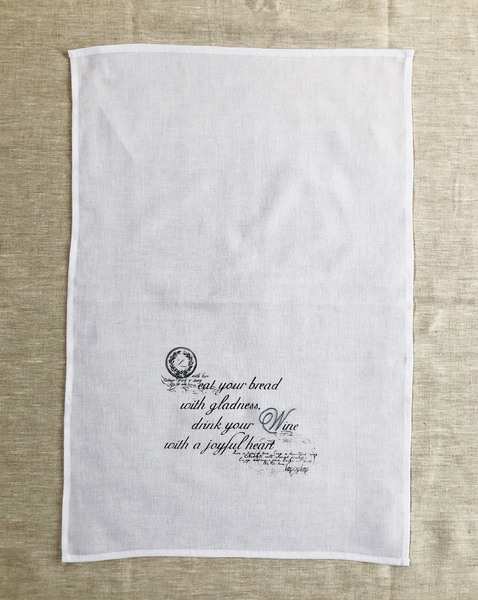 Add a beautifully stylish touch to your home with our hand-printed and hand-embroidered muslin kitchen or hand towel. Can be used beautifully as napkins, a tray cloth, to shine glassware or asgift wrapping.  Material type: Muslin 70x48cm   Handmade in South Africa.  Delivery:  Courier delivery in Cape Town within 5 business days: R50 per order Courier delivery to the rest ofSouth Africa within 5-10 business days: R65 per order