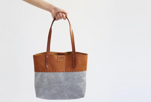 Soft Tote bag - tan and grey