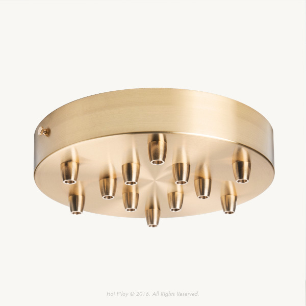 200 mm Brass Ceiling Cup with Brass Cable Grips and Brass Thumbscrews.