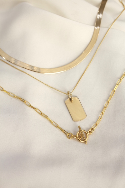 A set of three 18k Gold Vermeil Chains with sterling silver base.