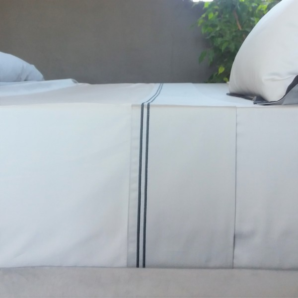 Signature Collection - Double Satin Stitch Flat Sheets - Charcoal on Oyster