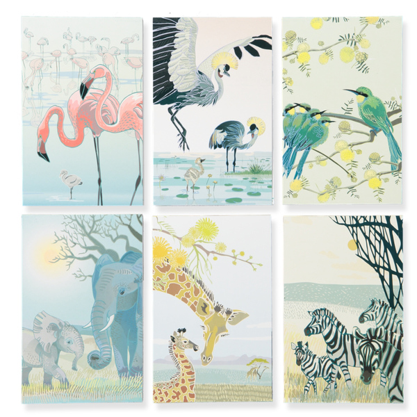 Notepads with 72 tear-off pages and THREE repeating designs; our favourite animals take turns to hold the front cover. 