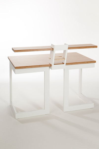 Rest Desk makes use ofa simple slot and restassembly, utilizing material weight and precise tolerances to hold components together. The leg design allows for multiple set up configurations and creates maximum under desk leg space, its modular shape allows for stack ability.    A raised shelf surface with built in stationary level is available for those who like to keep their desk organized or require multiple surface heights.  A choice of two desk sizes are available. Sustainable, hardwearing, and visually pleasing, bamboo adds value in many ways to Rest Desk.  Please enquire for othercolour options.  Please enquire at jabbaeales@yahoo.com if you are interested in this product.  Please Note: All prices are for South Africa. For international orders please enquire, by clickinghere.  Materials:Bamboo, Epoxy coated Steel, Cork & Rubber.  Dimensions:Large: L 1800mm x W 700mm x H 740mm Small: L 1200mm x W 700mm x H 740mm  PDF Download:Rest Desk