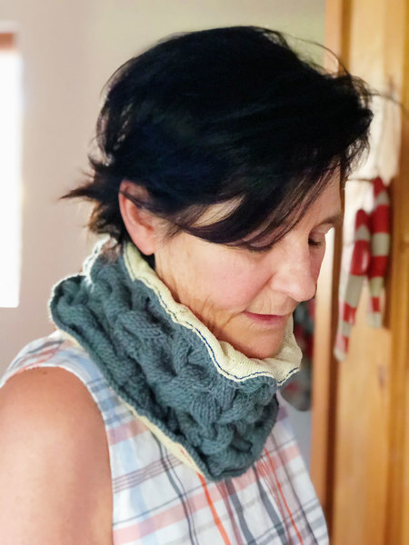 Keep your neck warm while complementing your outfit in style this winter. This beautiful hand-knitted circle scarf or snood is the perfect addition to your winter closet. Wool or cotton, lined with hand-dyed cotton, using natural plant dyes. Finished with hand-stitching.