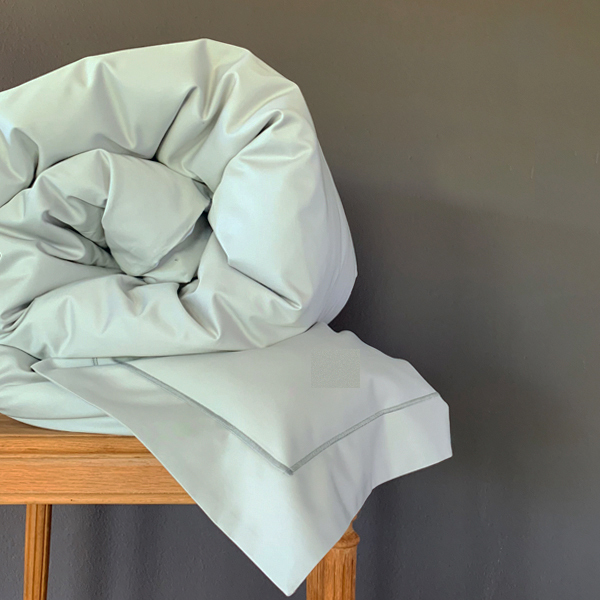 Signature Collection - Single Satin Stitch Oxford Duvet Covers - Shadow on Oyster