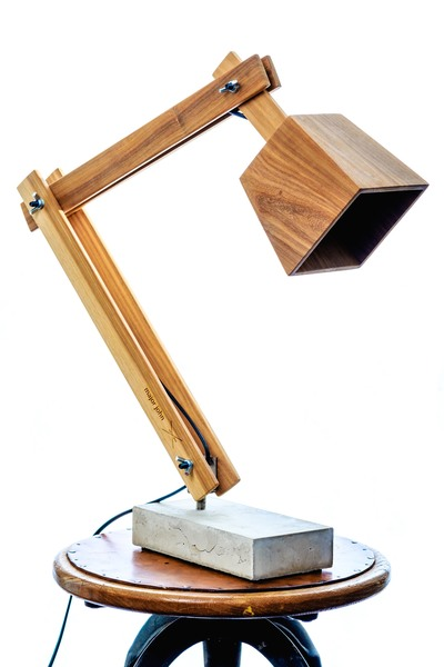 Timber and Concrete Desk lamps