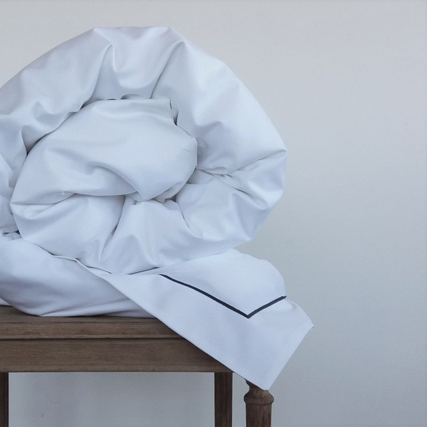 Signature Collection - Oxford Single Satin Stitch Duvet Covers - Charcoal on White