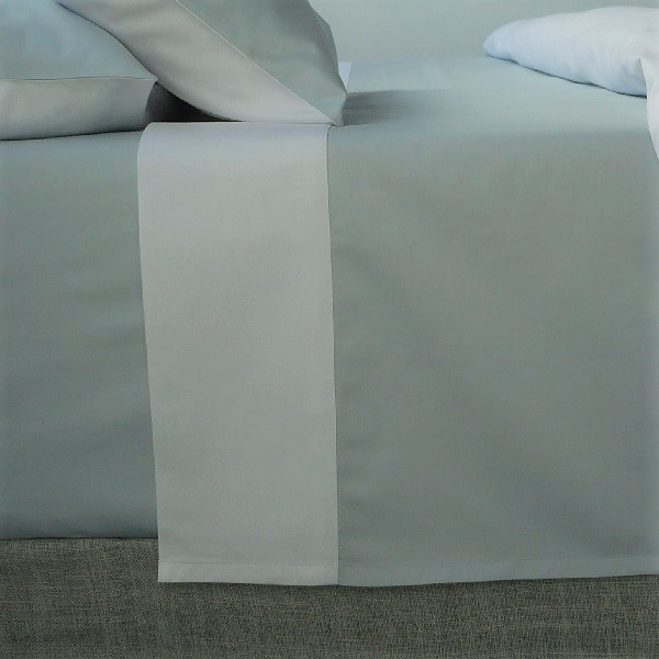 Signature Collection - Two Tone Flat Sheets - White on Breeze