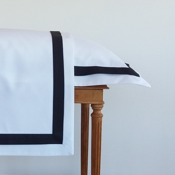 Signature Collection - Double Oxford Pillowcases (2) - Charcoal on White