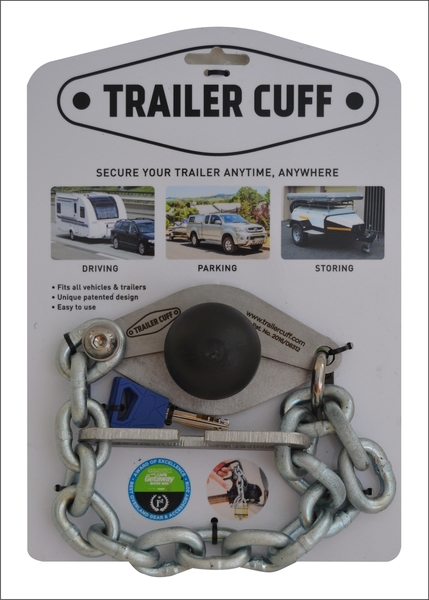 Trailer Cuffwill enable you to secure any closed loop oropen handle trailer coupler. The standard Trailer Cuff is ideal for use on tar roads with smaller trailers,normal caravans, Venter trailers etc. It has 4 mm base plates,a 7 mm chain and a 6 mm thick Link.  The 40 mm padlock will deter lightweight criminals without serious equipment. It will withstand almost any picking attempt, small bolt cutters and some serious bashing (with the shackle potentially bending out of shape). If they come with big bolt cutters,a hacksaw or an angle grinder, they will manage to work their way through the shackle given some time.  The setconsists of:   A Trailer Cuff. A Trailer Cuff ball. A Trailer Cuff Link. A 40 mm stainless Steel Trailer Cuff padlock with a 7 mm shackle. An Instruction booklet. 2 x Trailer Cuff stickers.     - FREE SHIPPING  - 7 day money back guarantee    Please EFT the money as it saves us a 5% transaction charge.