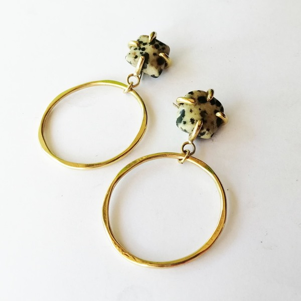 STONE CLAW Hoop Earrings with Dalmation Jasper