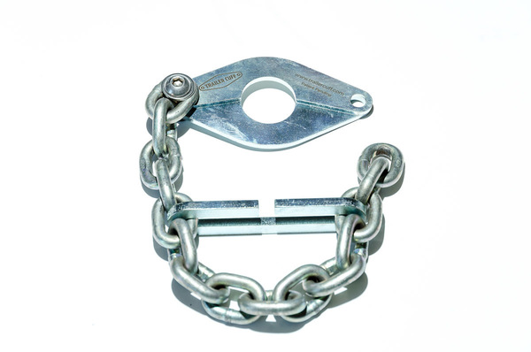 Trailer Cuffwill enable you to secure any closed loop oropen handle trailer coupler. The standard Trailer Cuff is ideal for use on tar roads with smaller trailers,normal caravans, Venter trailers etc. It has 4 mm base plates and a 7 mm chain.  It consists of:   A Trailer Cuff. A Trailer Cuff ball. A Trailer Cuff Link. An Instruction booklet. 2 x Trailer Cuff stickers.   Please note that the padlock does not come with the product.  - FREE SHIPPING  - 7 day money back guarantee  Please EFT the money as it saves us a 5% transaction charge.